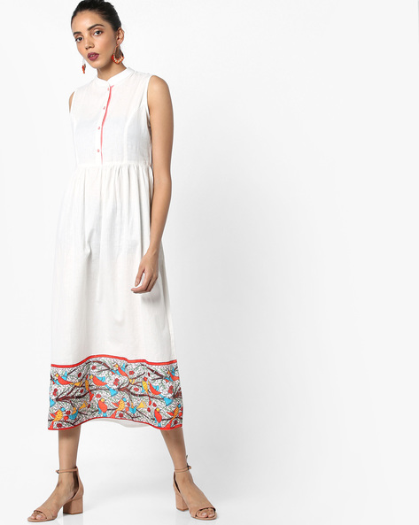 A-line Sleeveless Midi Dress By AJIO ( Offwhite )
