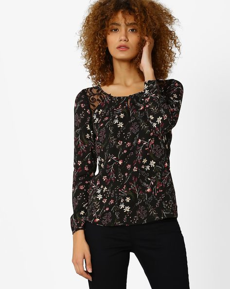Floral Print Top With Lace Insets By Honey By Pantaloons ( Black )