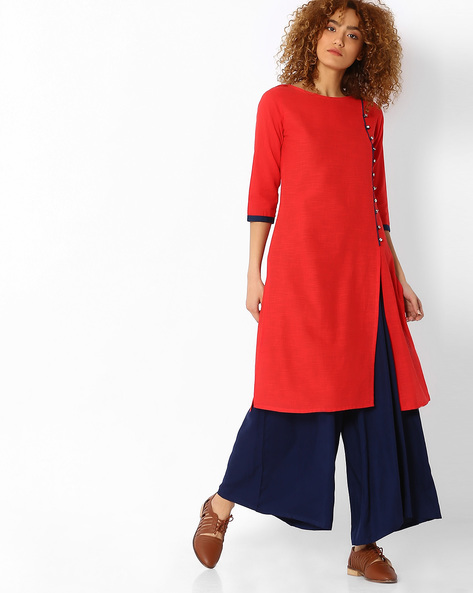 Straight Cotton Kurta With Front Slit By SOCH ( Red )