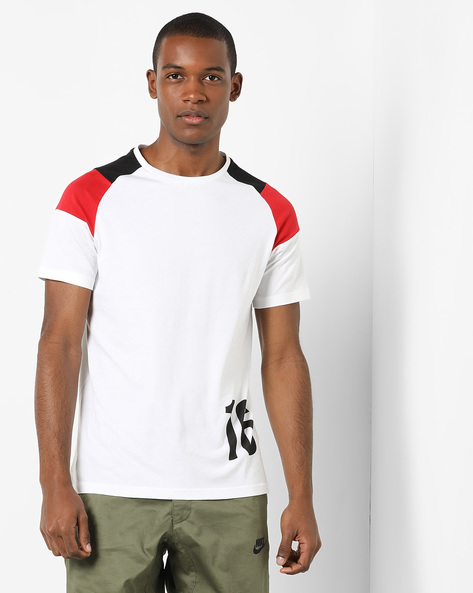 Cotton Crew-Neck T-shirt With Raglan Sleeves By AJIO ( White )