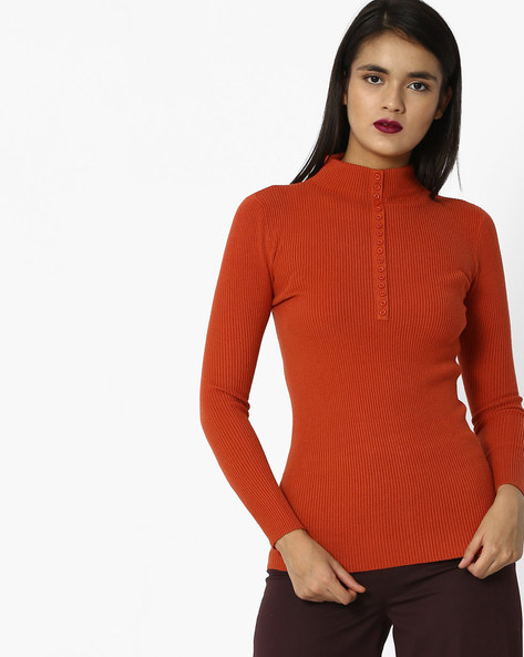 Ribbed Turtle-Neck Top By And ( Orange )