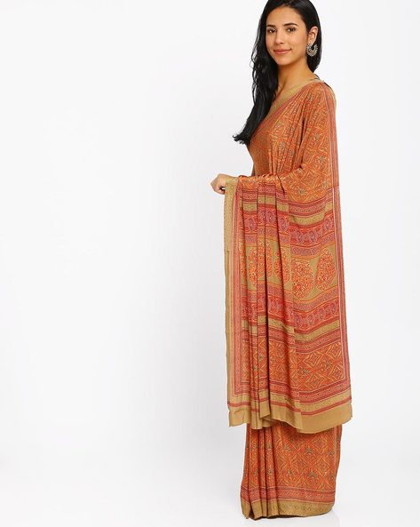 Printed Crepe Saree By Majestic Silk ( Rust )