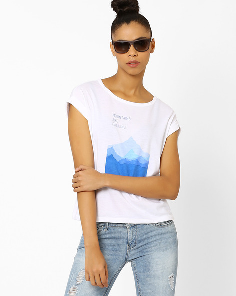 Round Neck Graphic Print T-shirt By Chemistee ( White )