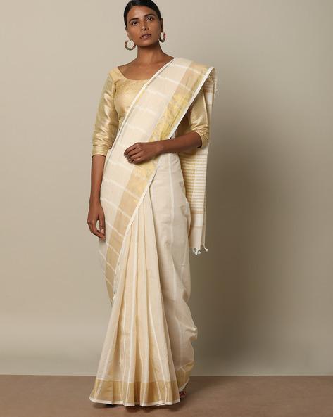 Textured Cotton Saree With Striped Pallu By Indie Picks ( Cream )