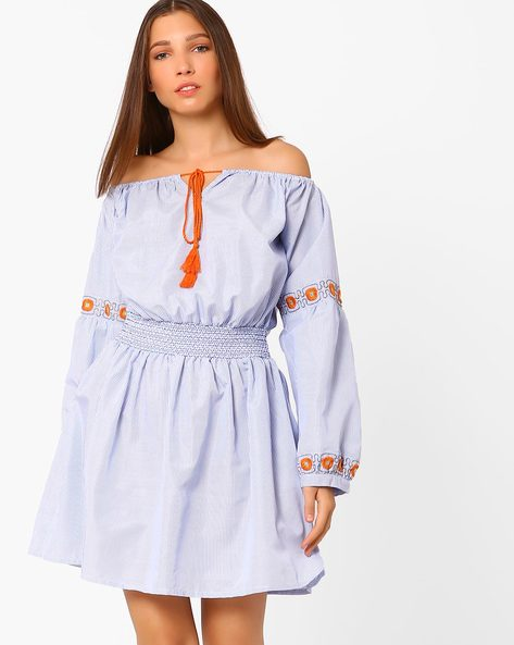 Striped Off-Shoulder Dress By Rena Love ( White )