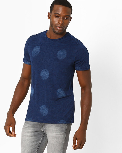 Regular Fit Polka-Dot T-shirt By Celio ( Indigo )