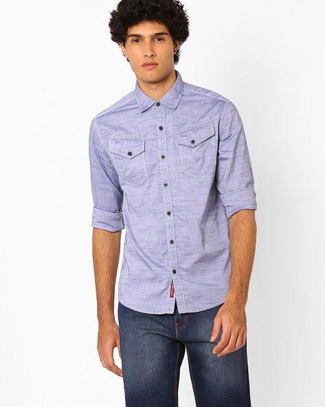 Heathered Cotton Shirt By AJIO ( Blue )