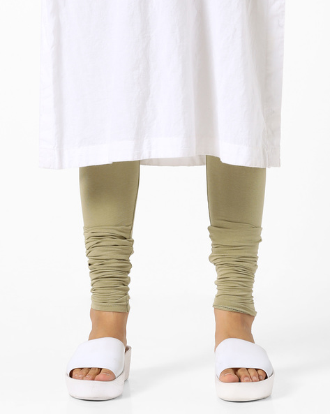 Churidar Leggings With Longer Hems By AJIO ( Olive )