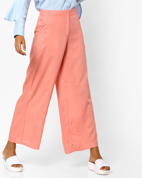 Flat-Front Pants With Slip Pockets By AJIO ( Peach )