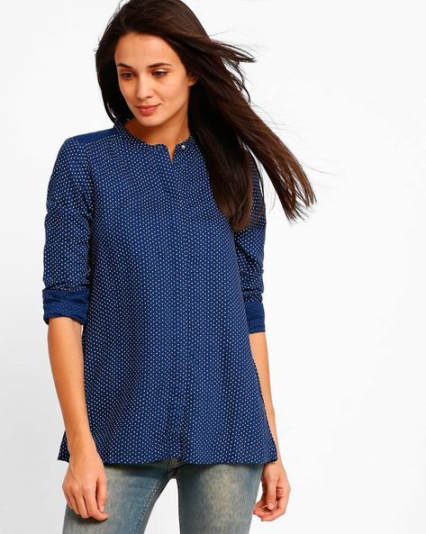 Polka-Dot Print Top By W ( Blue )