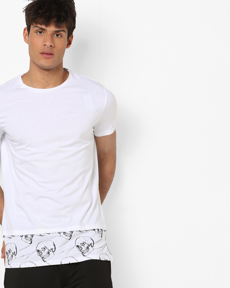 Crew-Neck T-shirt With Graphic Panel By AJIO ( White )