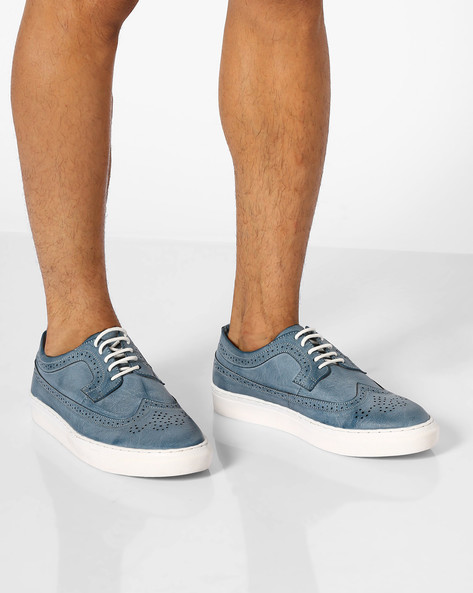 Faux-Leather Sneakers With Broguing By AJIO ( Grey )