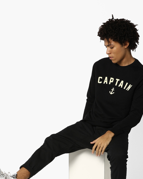 Printed Crew-Neck Sweatshirt By AJIO ( Black )