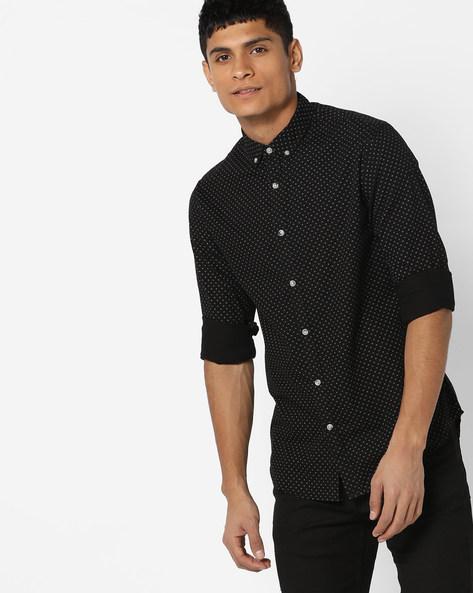 Polka-Dot Shirt With Button-Down Collar By AJIO ( Black )