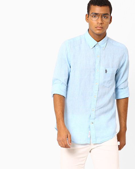 Linen Shirt With Patch Pocket By US POLO ( Aqua )