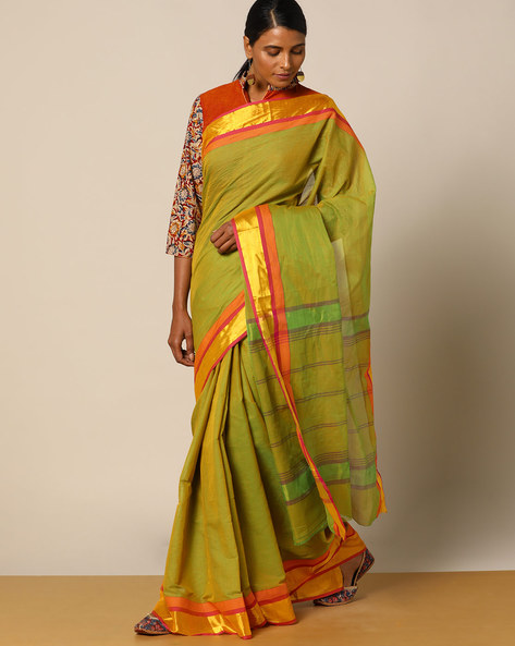 Edappadi Fine Cotton Saree With Woven Border By Indie Picks ( Green )