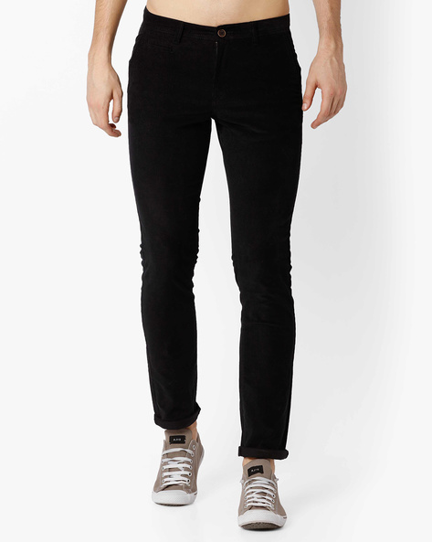 Mid-Rise Tapered Fit Chinos By NETPLAY ( Black )