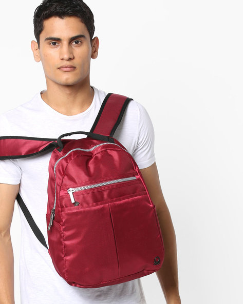Panelled Laptop Backpack By UNITED COLORS OF BENETTON ( Red )