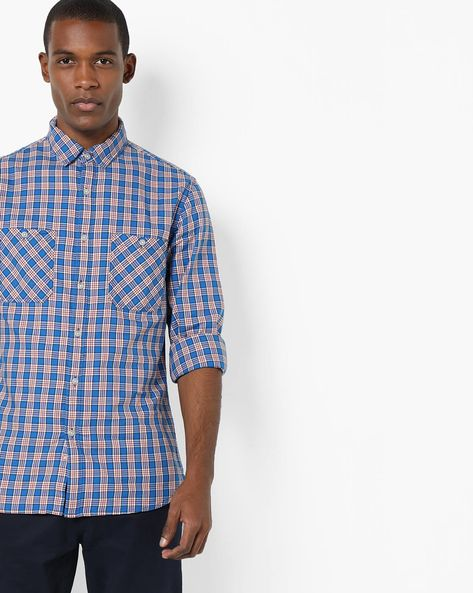 Checked Shirt With Patch Pockets By AJIO ( Blue ) - 460116774001