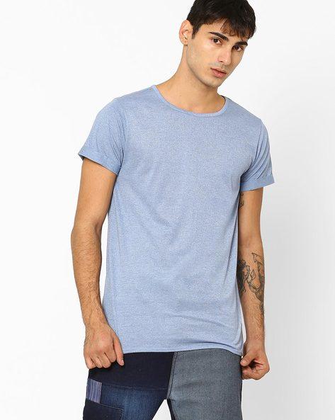 Crew-Neck Longline T-shirt By ADAMO LONDON ( Lightblue )