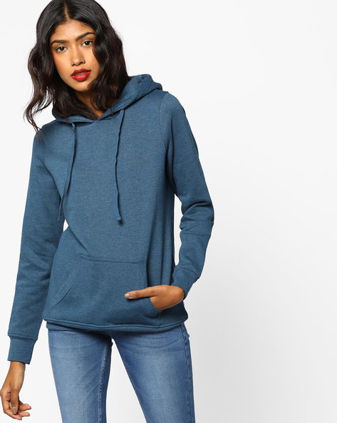 Hooded Sweatshirt With Kangaroo Pocket By Fame Forever By Lifestyle ( Greenishblue )
