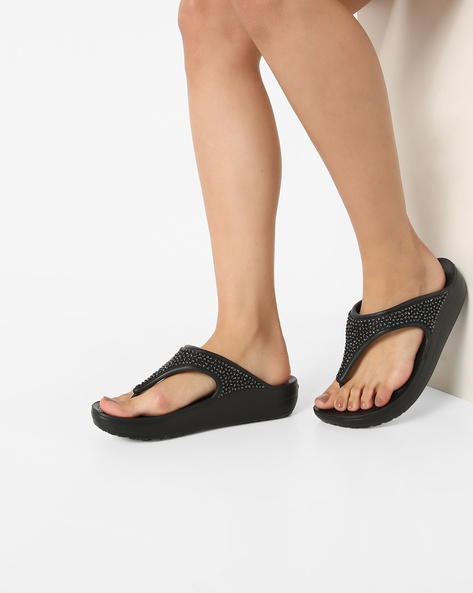 Sloane Embellished Flip-Flops By CROCS ( Black )