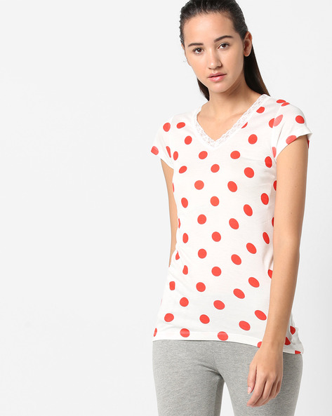 Polka-Dot Print Top With Lace Trim By Ginger By Lifestyle ( White )