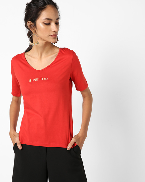 Cotton T-shirt With Printed Branding By UNITED COLORS OF BENETTON ( Red ) - 460140890020