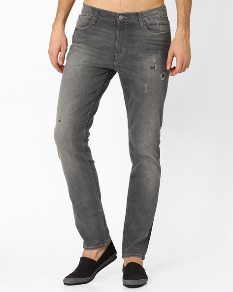 Low-Rise Skinny Fit Distressed Jeans By Lee ( Gray )