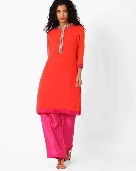 Straight Kurta With Gota Embroidery By AJIO ( Orange )