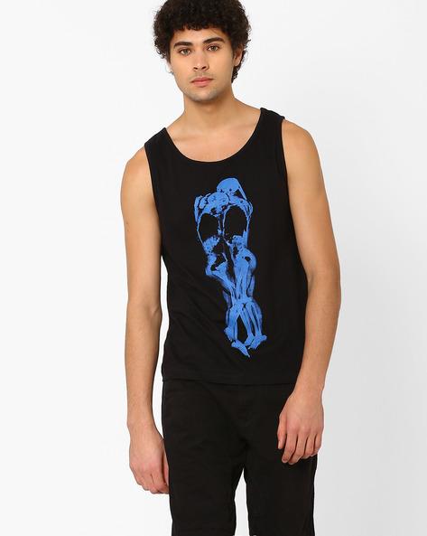 Graphic Print Slim Fit Tank T-shirt By SHELTR ( Black )