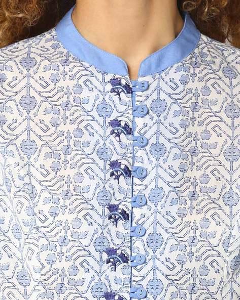Printed A-line Dress By AJIO ( Blue )