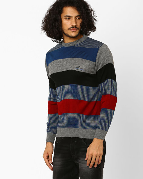Striped Crew-Neck Sweater By DUKE ( Medgrey )