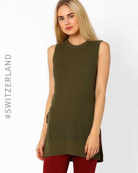 Sleeveless Top With Lace-Up Detail By TALLY WEiJL ( Olive )
