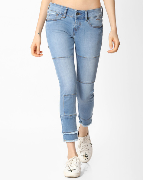 Skinny Jeans With Frayed Hems By Pepe Jeans ( Blue )