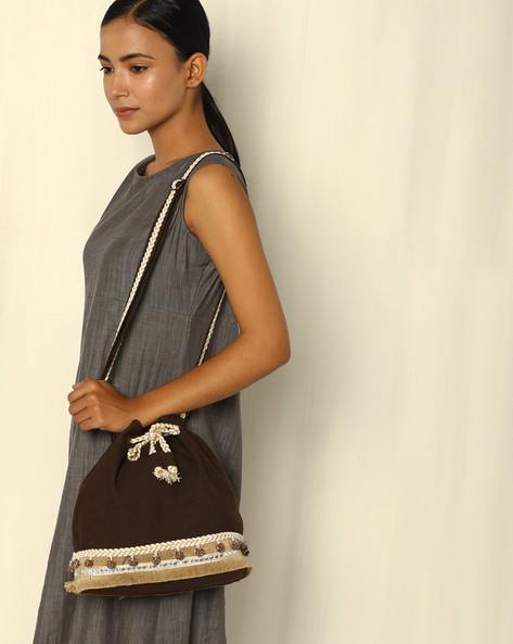 Drawstring Tote Bag With Sling Strap By THEEA ( Darkbrown )