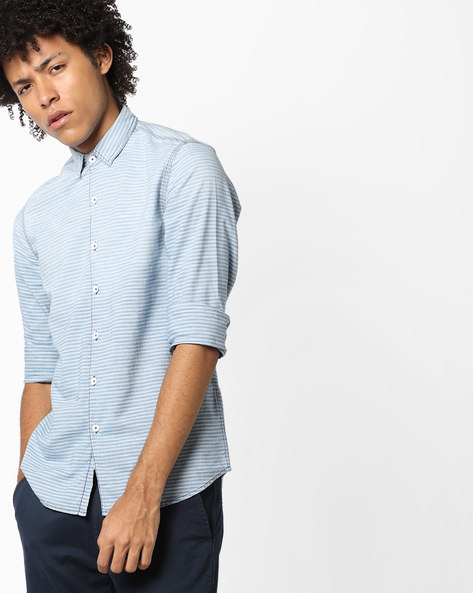 Striped Shirt With Curved Hem By Lee ( Blue )