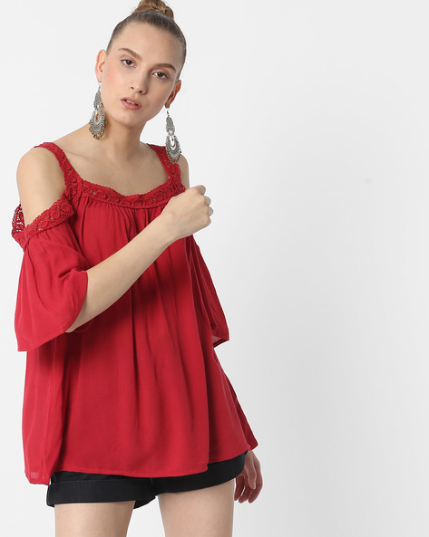 Cold-Shoulder Top With Lace Trim By DNMX ( Red )