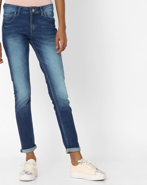Slim Fit Jeans With Whiskers By Alibi ( Blue )