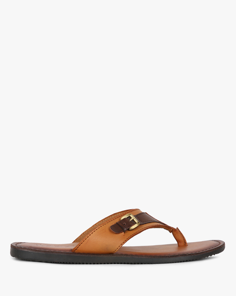 Thong-Strap Slippers With Buckle By Estd.1977 ( Tan )