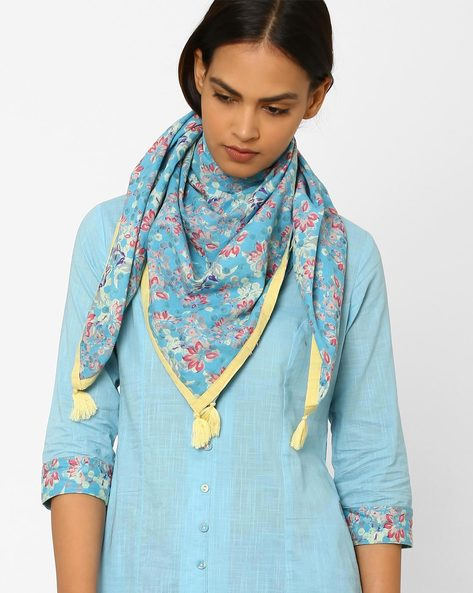 Floral Print Stole With Tassels By AJIO ( Turquoise )