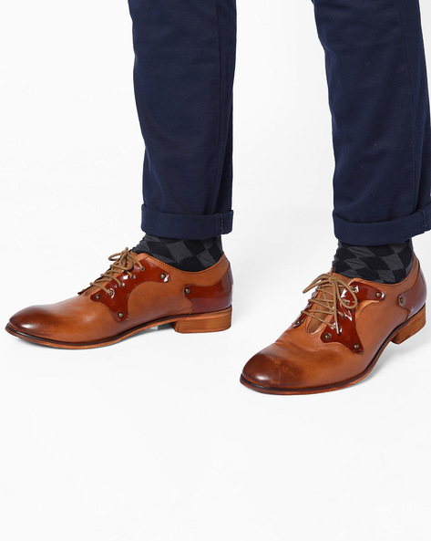 Genuine Leather Panelled Shoes By Acuto ( Tan )