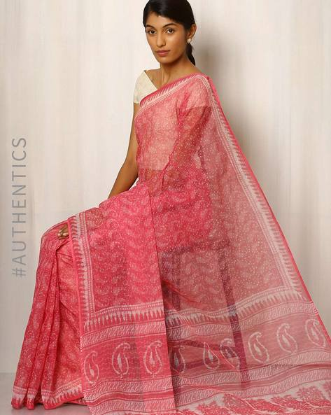 Bagru Print Kota Cotton Silk Saree By Indie Picks ( Pink )