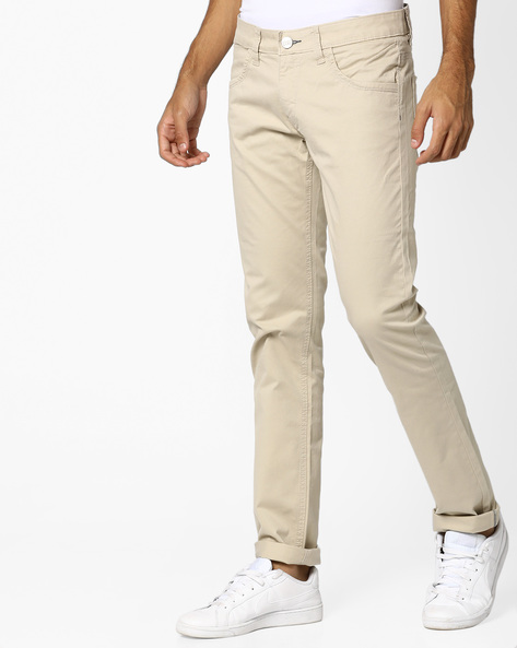 Skinny Fit Trousers By BASICS ( Beige )