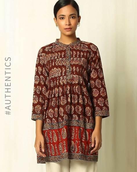 Handblock Print Kalamkari Cotton Tunic With Raglan Sleeves By Indie Picks ( Red )