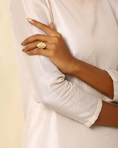 Gold-Plated Brass Ring By Indie Picks ( Multi ) - 460045167001