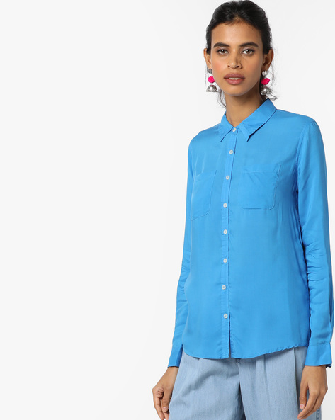 Shirt With Spread Collar By UNITED COLORS OF BENETTON ( Blue )