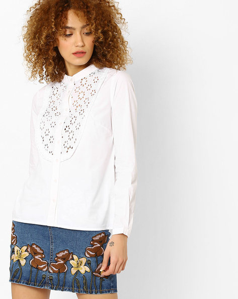 Cotton Shirt With Band Collar By Vero Moda ( White )