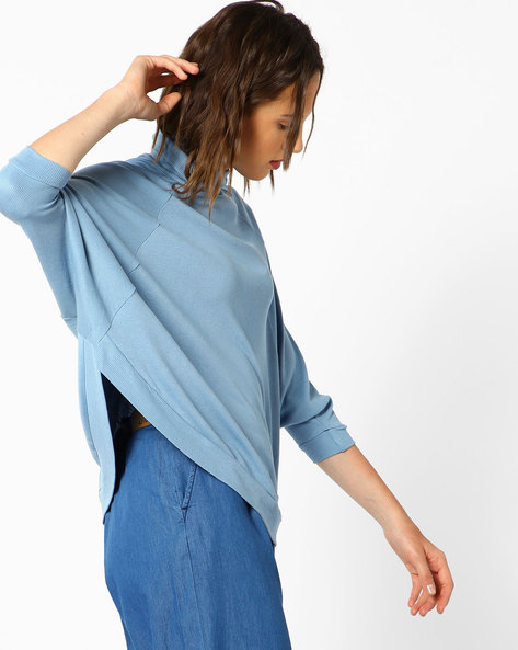 Boxy Top With Turtle Neck By AJIO ( Blue )