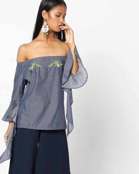 Off-Shoulder Top With Bell Sleeves By RI-DRESS ( Blue )